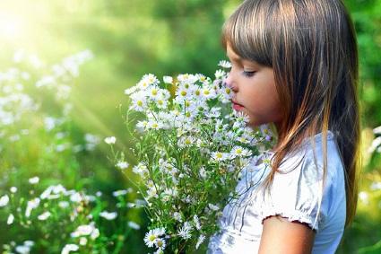 ребенок и цветы, девочка нюхает цветы