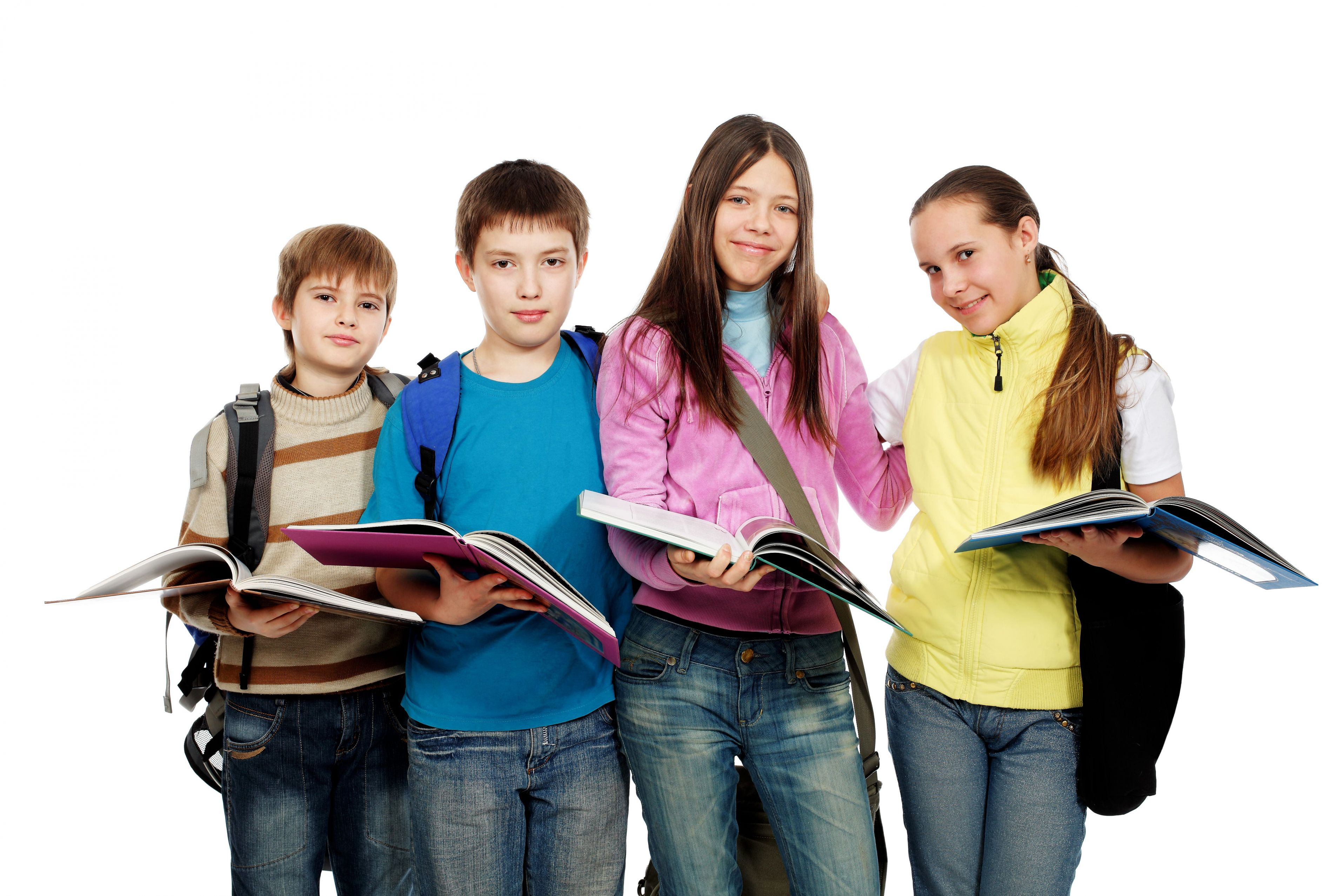 Подростки с учебниками