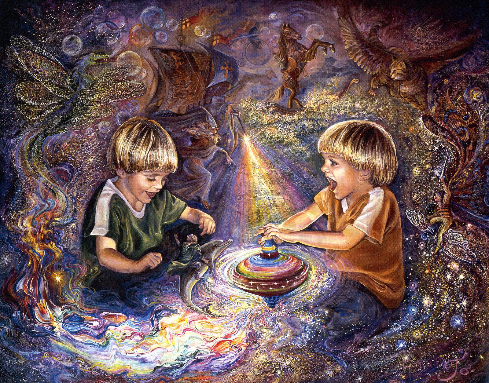 Два малыша играют и фантазируют