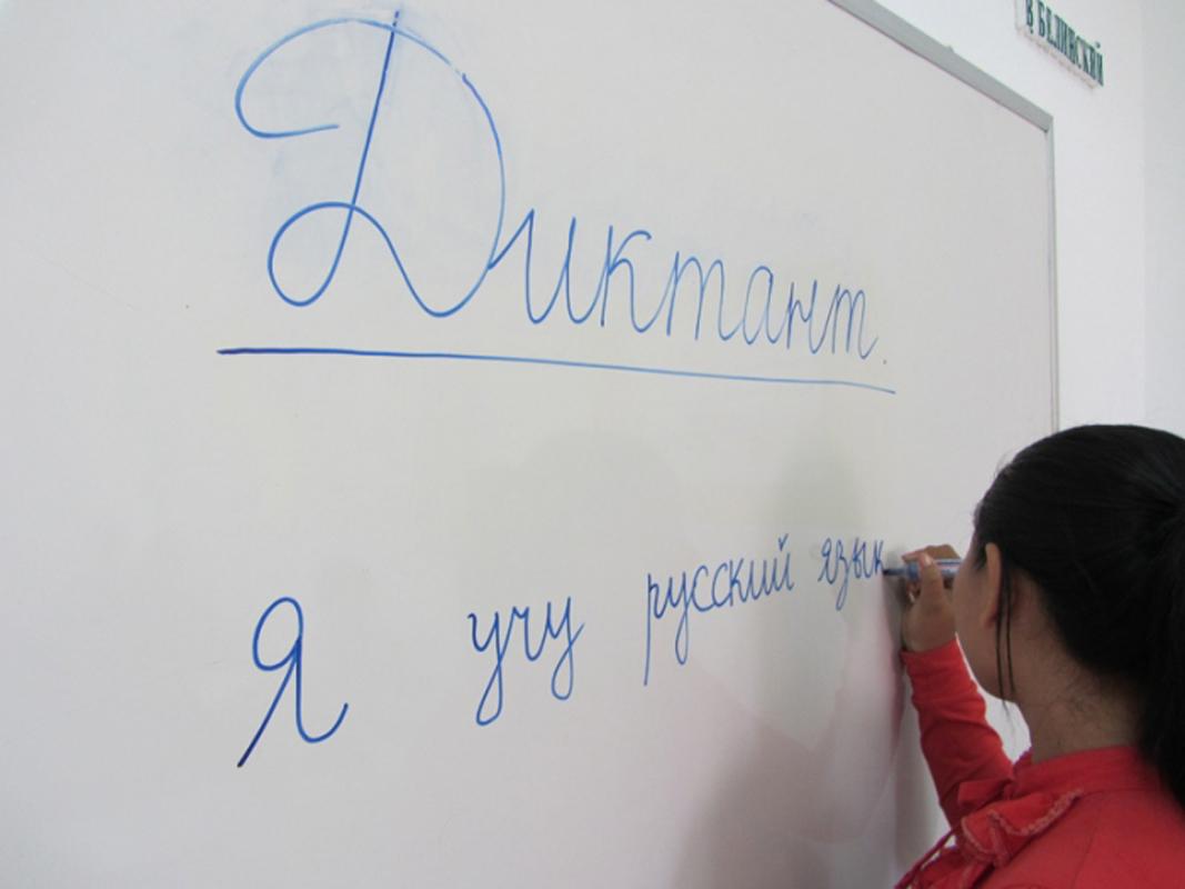 Девочка за доской пишет диктант