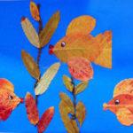 Аппликация из сухих листьев