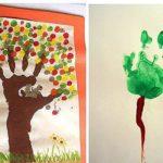 Дерево-ладошка, листья пальчиками, второе дерево — ладошка, ствол — линия пальчиком