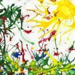 Хаотичные цветы и трава, солнце, кляксография с трубочкой