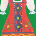 Красный сарафан с узорами на зелёном фоне
