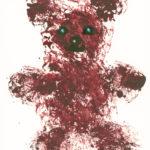 Мишка, нарисованный скомканной бумагой