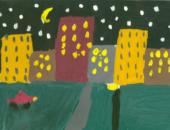 Ночной город рисунок