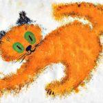 Оранжевый кот с чёрными ушами, рисунок скомканной бумагой