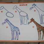 Схема поэтапного рисования жирафа