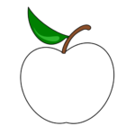 Силуэт яблока с листочком