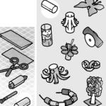 Бусы, пень, пушка, кукла, дерево, бабочка