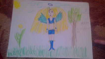 Девочка стоит спиной рисунок