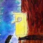 Изображение птицы и скворечника