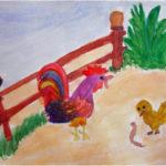 Изображение петуха и цыплёнка