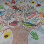Изображение птиц на дереве