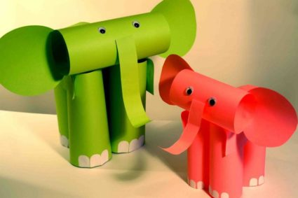 Конструирование слонят из бумаги