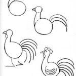 Схема рисования петушка