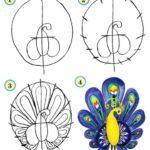 Схема рисования птицы