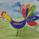 Разноцветный петушок фломастерами — детский рисунок