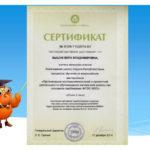 Сертификат об участии в мастер-классе для педагогов классов