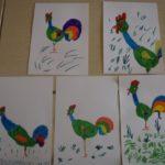 Яркие зелёные петушки, 5 детских рисунков