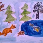 Рисунок акварелью «Берегись, Серая Шейка»