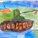 красочный рисунок танка