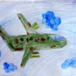рисунок военного самолёта в облаках