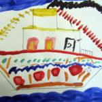 Рисунок «Пароход» с флагами