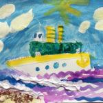 Рисунок «Корабль уходит в море» 5