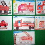Индивидуальная работа «Пожарная машина» (акварель и карандаши)
