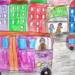 Рисунок «Автобус едет по улице города»