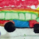 Рисунок «Автобус» (просто красно-зелёный автобус)