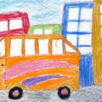 Рисунок «Городской автобус» (оранжевый автобус среди цветных домов)