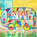 Рисунок «Весёлый автобус» (пёстрый автобус, на котором нарисованы цветы)