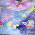 Проступающая техника (восковые мелки и акварель) «Космическое путешествие»