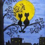 Кот, кошка и Луна
