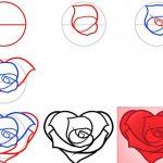 Роза в виде сердце